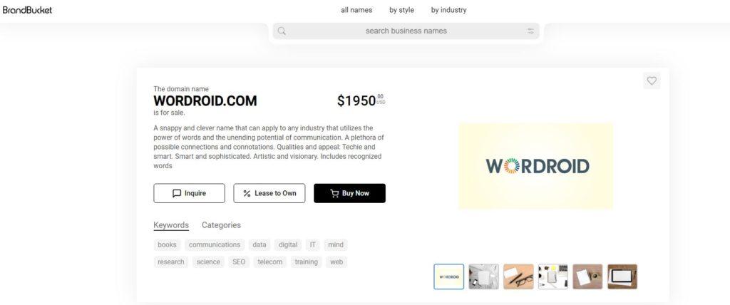 Trình tạo tên miền Wordroid